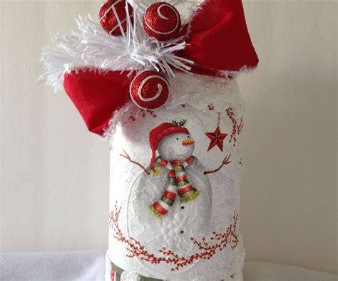 how to decoupage a plastic clear ball with a picture decoupage napkin on jar with snow 7 steps