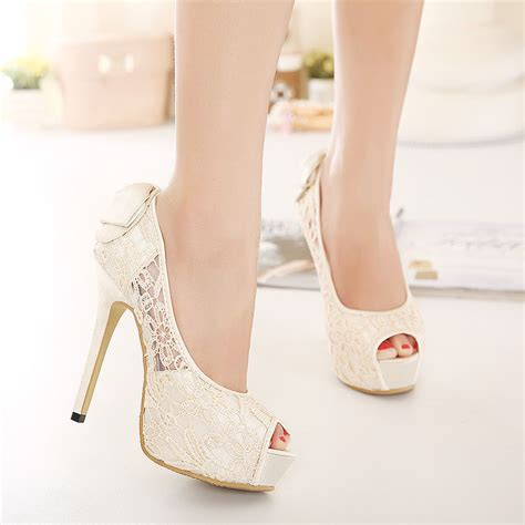Wedding High Heels For Brides by Ivory Satin Lace Bow Open Toe Platform Heels Bridal