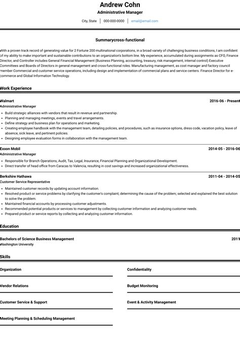 resume format for front office job cv template admin jobs templates
