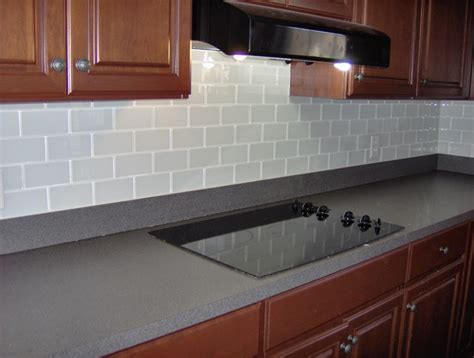 glass subway tile back splash traditional kitchen