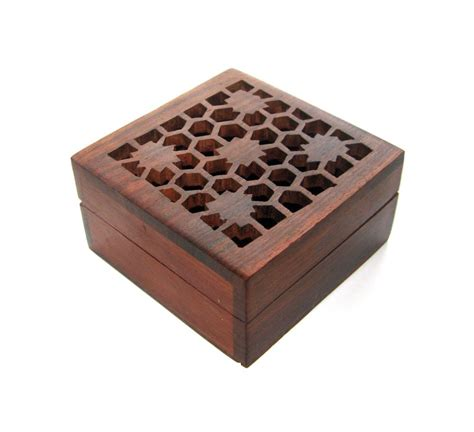 wooden box floral net carved jewelry box storage organizer