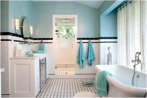 black white and blue bathroom black and white subway tile bathroom