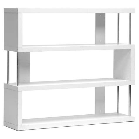 Baxton Studio Barnes 3 Shelf Modern Bookcase White Modern White Bookcases
