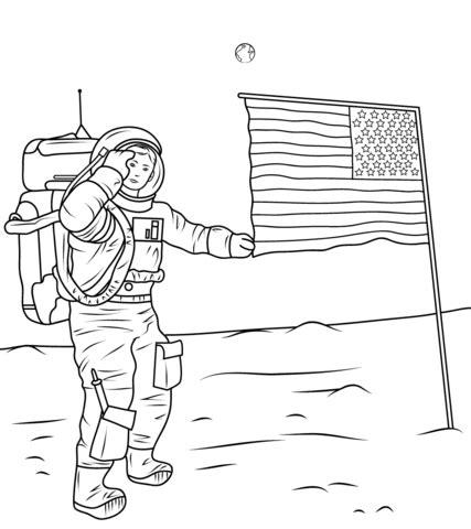 dibujo de neil armstrong en la luna para colorear