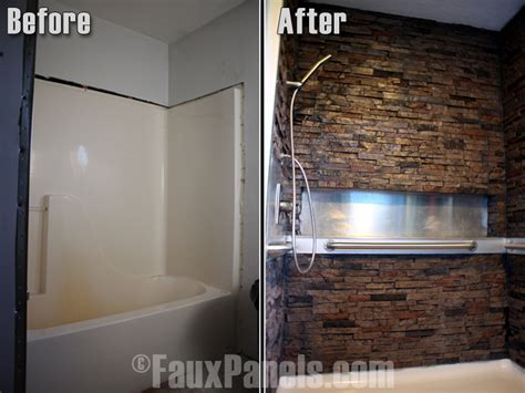 stone bathroom wall panels bathroom makeover ideas creative faux panels