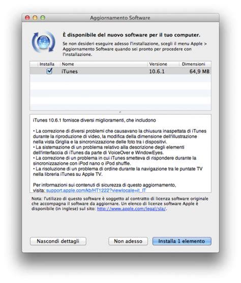 aggiornare libreria itunes apple ha rilasciato l aggiornamento 10 6 1 di itunes