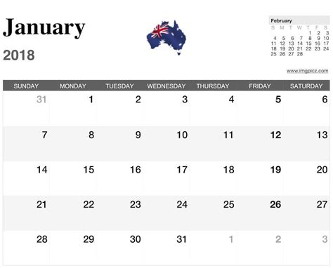 printable calendar january 2018 australia 2018 calendar australia yearly printable calendar