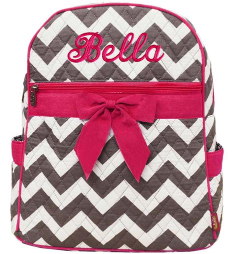 personalized backpack chevron gray hot pink bookbag quilted