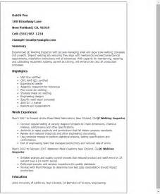 Qc Resume Format by Professional Qc Welding Inspector Templates To Showcase Your Talent Myperfectresume
