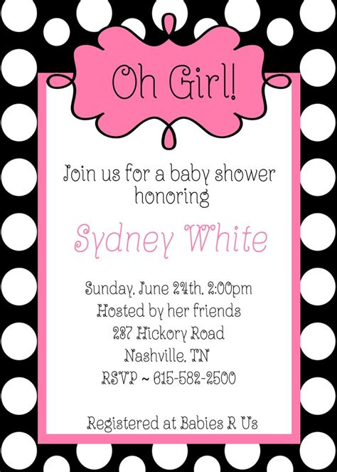 Pink Black And White Baby Shower Invitations by Oh Baby Shower Black White Polka Dots Pink