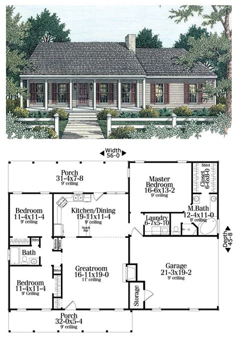 garage plans with living area house plan 40026 total living area 1492 sq ft 3
