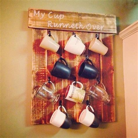 diy mug holder kitchen space rack with pallet cup holders pallets designs