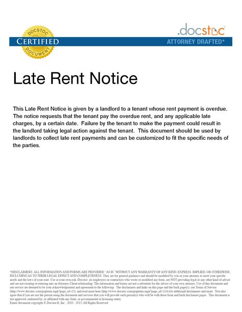 late rent notice  printable documents