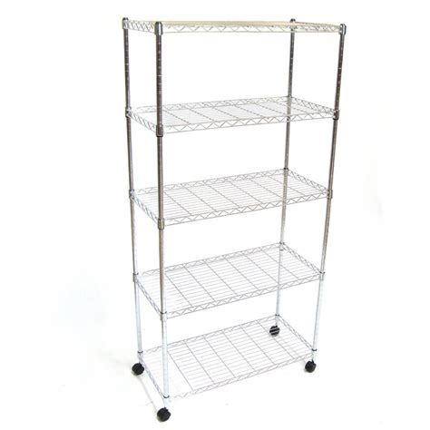 Wire Shelf Wheels by Wire Metal Shelving Storage On Wheels X5 Tier Shelf