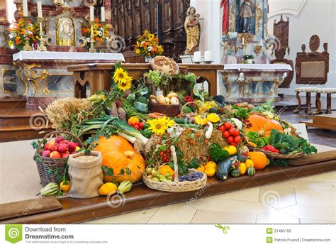 festive decoration services harvest festival altar erntedankaltar at church stock