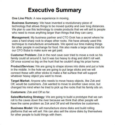 template for executive summary report executive report 6 free pdf doc sle