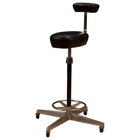 Leather Drafting Chair by Herman Miller George Nelson Leather Drafting Stool For
