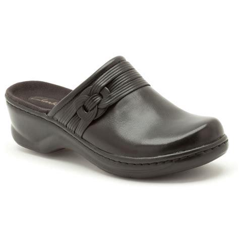 clarks erna redwood black mule marshall shoes
