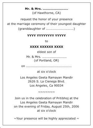 hindu wedding invitation wording for friends from and groom in hindu wedding invitation wordings hindu wedding wordings hindu wedding card wordings