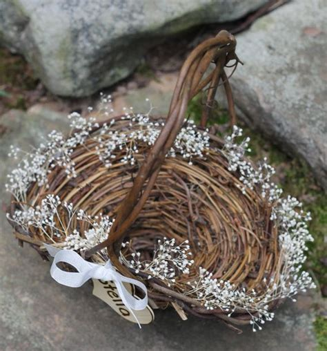 Bonia Ribbon 072 Monogram flower basket rustic personalized lined in baby s breath rustic cottage