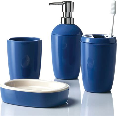 blue bathroom ensembles in out 4 piece bathroom accessory set blue bathroom