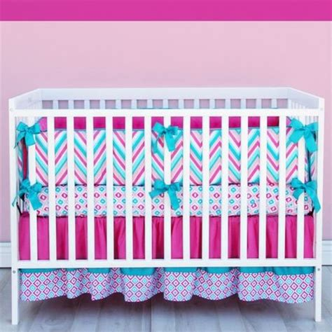 Pink And Turquoise Crib Bedding Lila Chevron Baby Bedding In Pink And Turquoise Caden Chevron Nursery Chevron