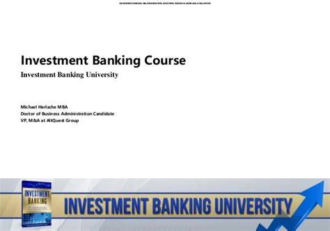 Boutique Investment Banking Mba by Investment Banking Course Investment Banking