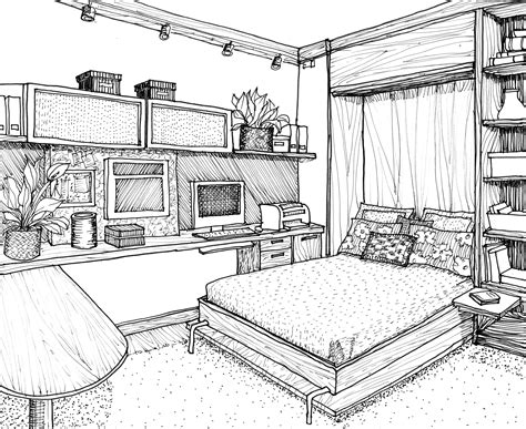 bedroom design drawings drawn bedroom perspective pencil and in color drawn