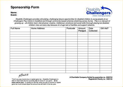 blank sponsorship form template blank sponsor form template sletemplatess