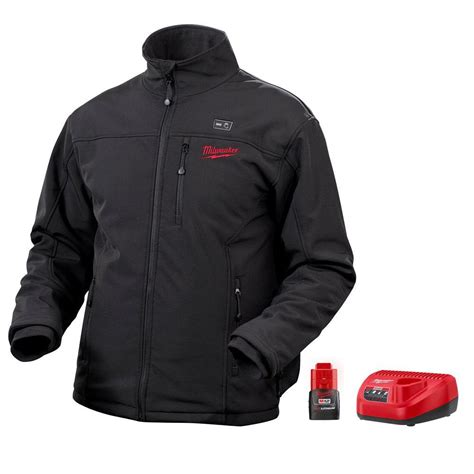 Milwaukee Large M12 Lithium Ion Cordless Black MZ Heated Jacket Kit 2345 L   The Home Depot