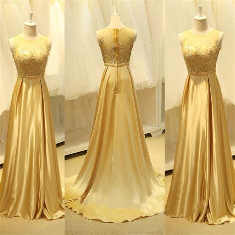 Elegant Gold Silk Chiffon Long Evening Dresses Sweep Train Sheer Top Beads Popular Prom Dresses