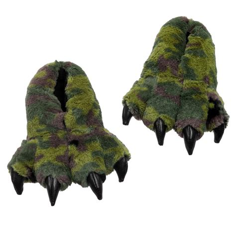 dinosaur house shoes wishpets green camo dinosaur claw slippers