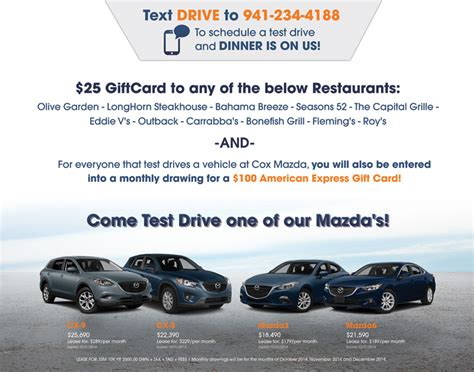 Mazda Test Drive Gift Card 2017 - cox mazda is showcasing new cars at ellenton premier outlets cox mazda prlog