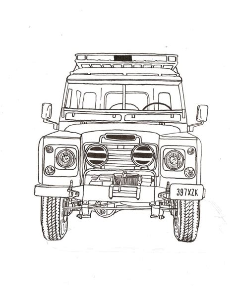 land rover drawing land rover series iii ink drawing print land rover