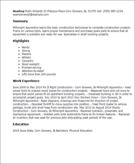 apprenticeship cover letter exle of millwright apprentice cover letter