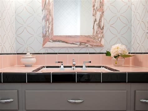 best vintage decals with peach wall color using sage green reasons to love retro pink tiled bathrooms hgtv s