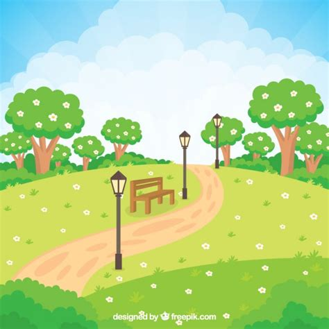 Gardening Vector Flowery Garden With A Bench Vector Free