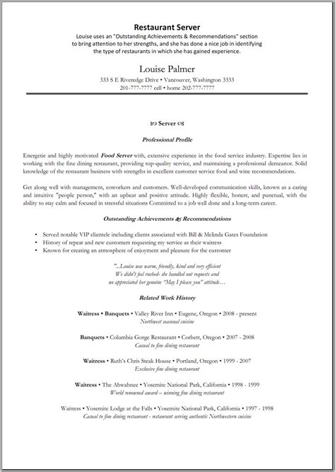Resume Templates Server 10 Restaurant Server Resume Writing Resume Sle Writing Resume Sle