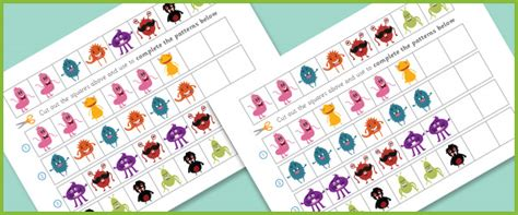 pattern activities early years complete the pattern worksheets monsters free early