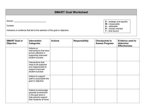 Smart Goal Template Tryprodermagenix Org Goals And Objectives Template