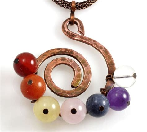Handmade Copper Jewelry Designs - spiral copper chakra pendant sacred jewelry designs