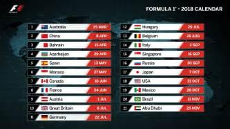 F1 Calendar 2018 Calendar Revealed The 2018 F1 Race Calendar F1 Grandstand