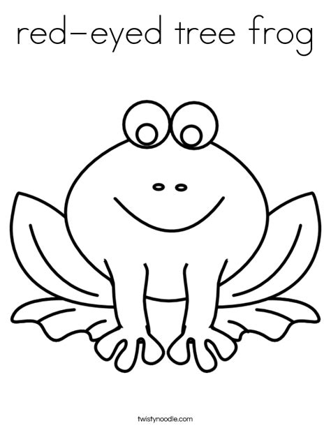 Red Eyed Tree Frog Coloring Page Twisty Noodle Eyed Tree Frog Coloring Page