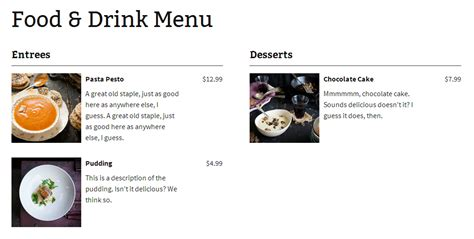 menu layout in wordpress food and drink menu wordpress plugins