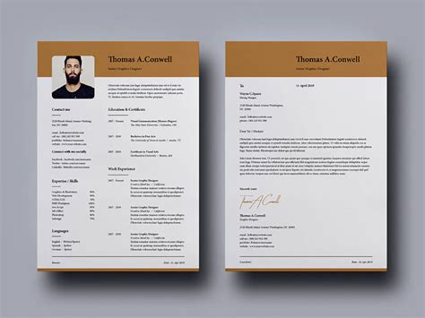 modern indesign resume template matching cover