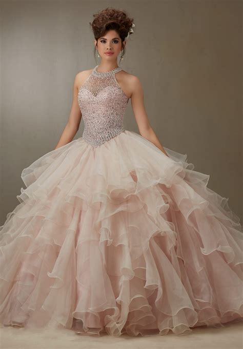 Dress Lyka 01 Pink 2017 light pink quinceanera dresses halter neck beaded sleeveless gown quinceanera gowns