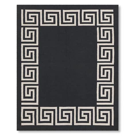 black and white key rug key border indoor outdoor rug black williams sonoma