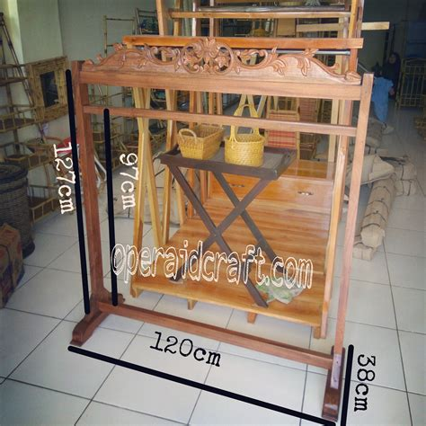 Cermin Rotan Sintetis standing hanger kayu standing hanger kayu