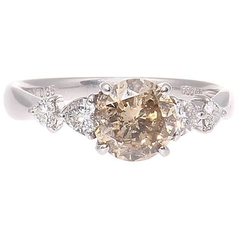 colored engagement rings light chagne colored platinum engagement ring