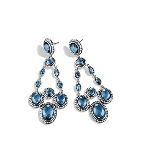 Blue Topaz Chandelier Earrings David Yurman Renaissance Chandelier Earrings With Hton Blue Topaz In Blue Lyst